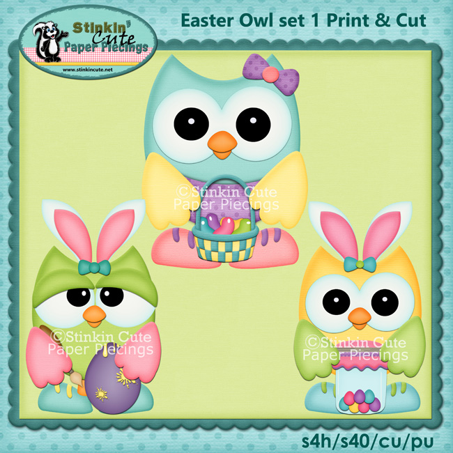 (S) Easter Owls 1 Print and Cut