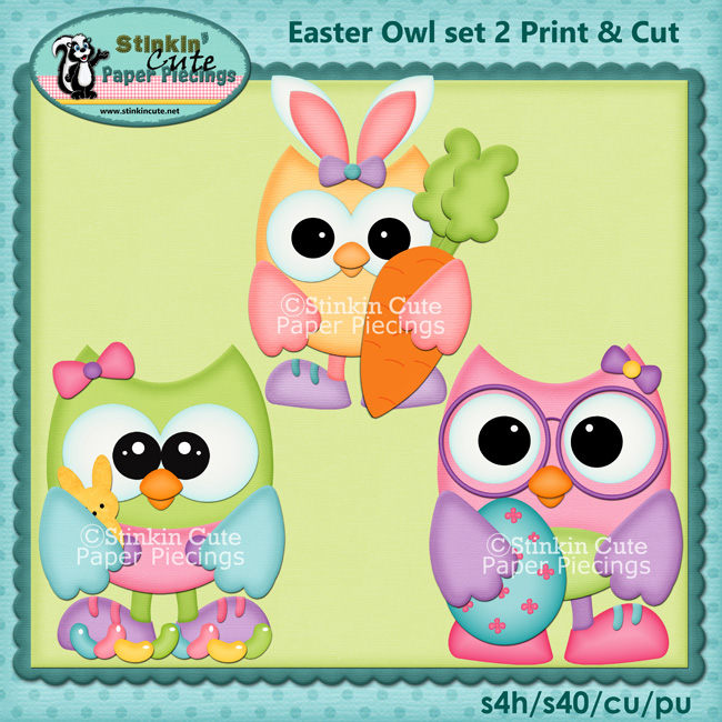 (S) Easter Owls 2 Print and Cut
