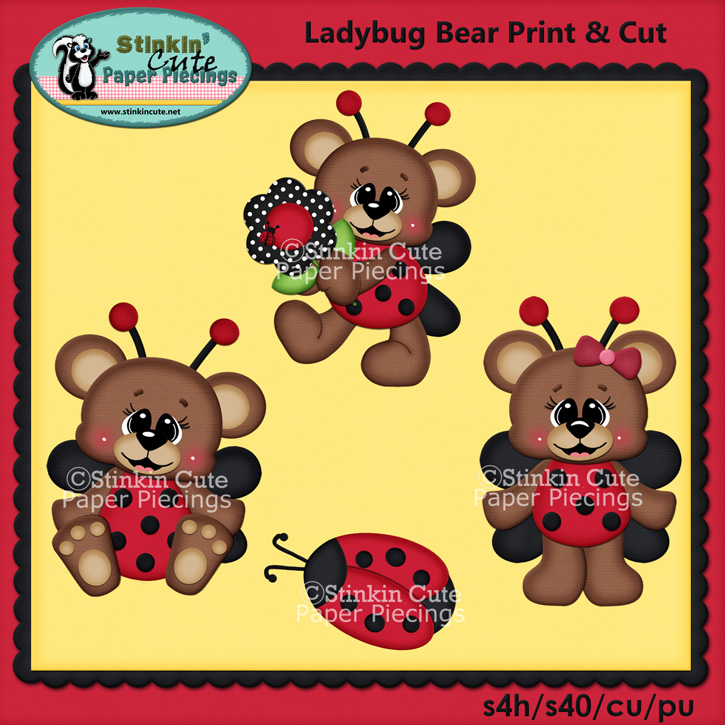 (S) Lady bug bears Print and Cut