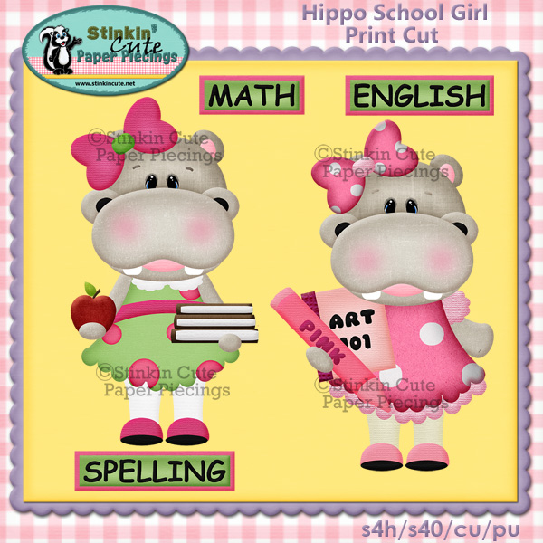 (S) Hippo School Girl Print and Cut