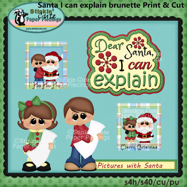 (S) Pictures with Santa Brunette Print and Cut