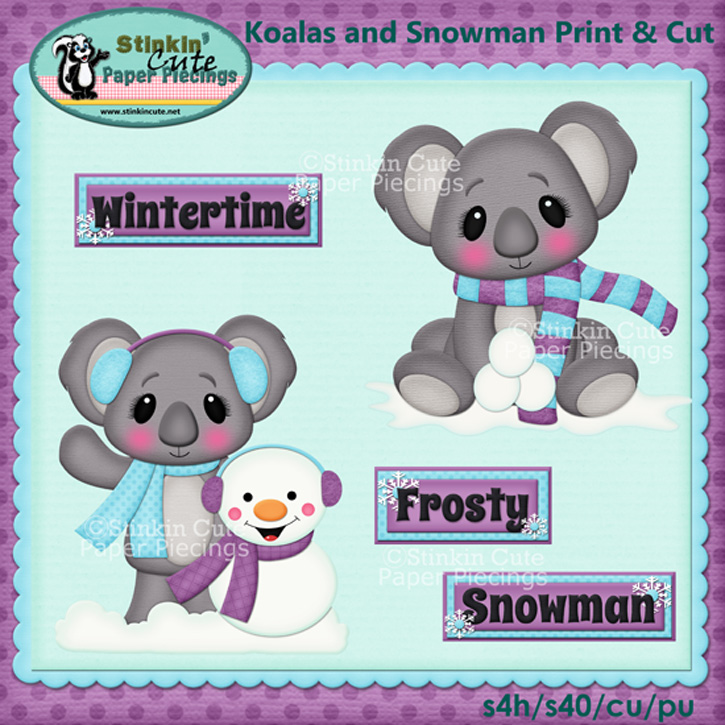 (S) Koalas and Snowman Print and Cut