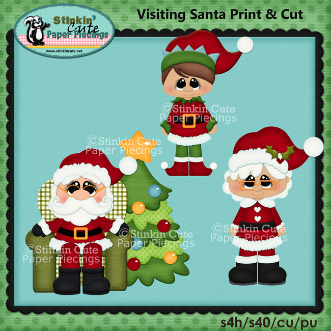 Visiting Santa Print and Cut