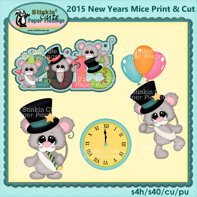 (S) 2015 New Years Mice Print and Cut