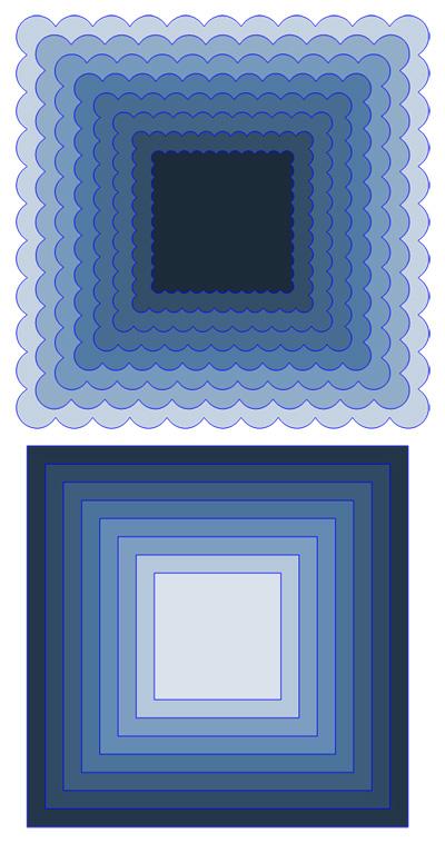 Small Square Scallop Cutting File Set