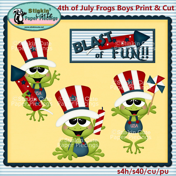 (S) 4th of July Frogs (Boys) Print and Cut
