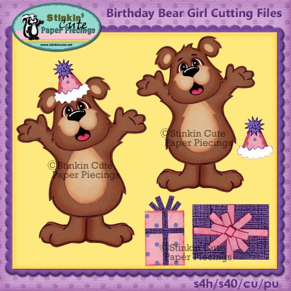 Birthday Bear Girl Cutting Files