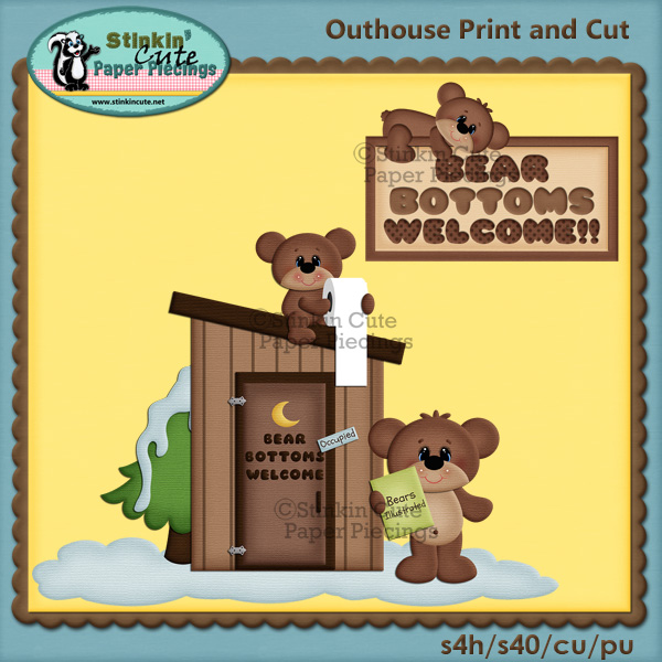 (S) Bear Bottoms Welcome Print and Cut